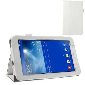 White Cross Grain Magnetic Leather Case for Samsung Galaxy Tab 3 7.0 Lite T110 T111 w/ Elastic Band