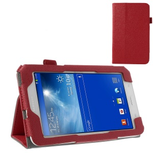 Red Cross Grain Flip Leather Stand Cover for Samsung Galaxy Tab 3 7.0 Lite T110 T111 w/ Elastic Band