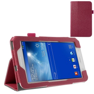 Rose Cross Grain Flip Leather Stand Cover for Samsung Galaxy Tab 3 7.0 Lite T110 T111 w/ Elastic Band