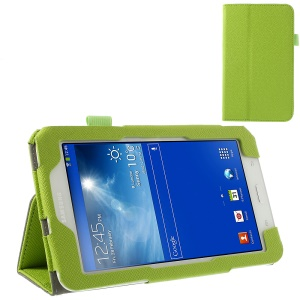 Green Cross Grain PU Leather Stand Cover w/ Elastic Band for Samsung Galaxy Tab 3 7.0 Lite T110 T111