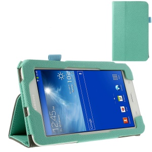 Cyan Cross Grain PU Leather Stand Case w/ Elastic Band for Samsung Galaxy Tab 3 7.0 Lite T110 T111