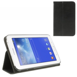 Black Flip Leather Stand Case for Samsung Galaxy Tab 3 7.0 Lite T110 T111 w/ Elastic Band