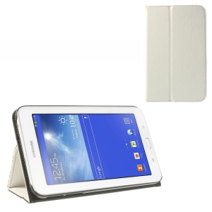White Flip Leather Stand Cover for Samsung Galaxy Tab 3 7.0 Lite T110 T111 w/ Elastic Band