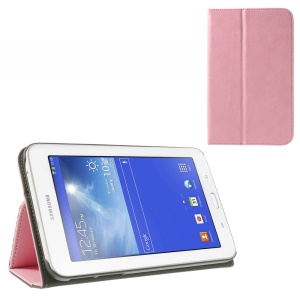 Pink PU Leather Card Slot Shell for Samsung Galaxy Tab 3 7.0 Lite T110 T111 w/ Elastic Band