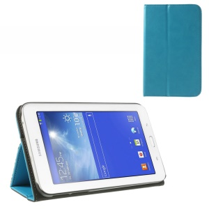 Light Blue Leather Card Slot Cover for Samsung Galaxy Tab 3 7.0 Lite T110 T111 w/ Elastic Band