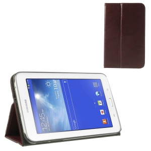 Red Brown PU Leather Cover Stand w/ Elastic Band for Samsung Galaxy Tab 3 7.0 Lite T110 T111