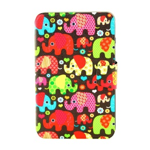For Samsung Galaxy Tab 3 Lite 7.0 T110 Smart Leather Stand Case - Seamless Retro Elephant Kids
