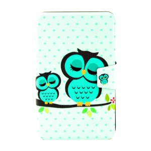 For Samsung Galaxy Tab 3 Lite 7.0 T111 Smart Leather Stand Cover - Sleeping Owl on the Branch