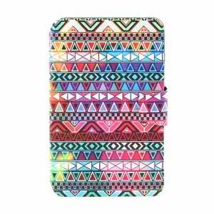 Smart Leather Rotating Stand Cover for Samsung Galaxy Tab 3 Lite 7.0 T111 - Aztec Tribal Pattern