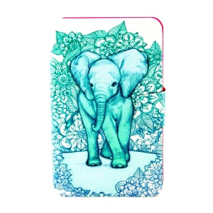 Rotating Stand Smart PU Leather Cover for Samsung Galaxy Tab 3 Lite 7.0 T111 - Elephant Art Print