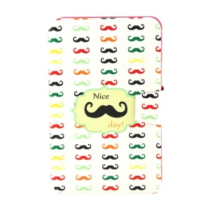Rotating Stand Smart Flip Leather Cover for Samsung Galaxy Tab 3 Lite 7.0 T111 - Colored Mustaches