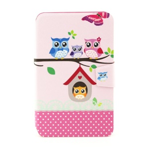 Rotating Stand Smart Flip Leather Case for Samsung Galaxy Tab 3 Lite 7.0 T110 - The Owl Family