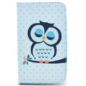 Sleeping Owl on the Branch PU Leather Cover w/ Stand for Samsung Galaxy Tab 4 7.0 T230 T231 T235