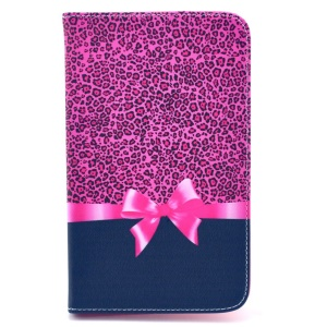 Leopard & Bowknot PU Leather Case w/ Stand for Samsung Galaxy Tab 4 7.0 T230 T231 T235