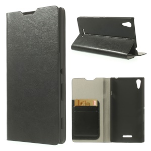 Crazy Horse Card Holder Leather Case w/ Stand for Sony Xperia T3 D5102 D5103 D5106 - Black