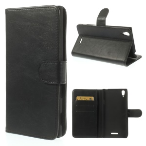 Black for Sony Xperia T3 D5102 D5103 D5106 Crazy Horse Textured Leather Wallet Cover