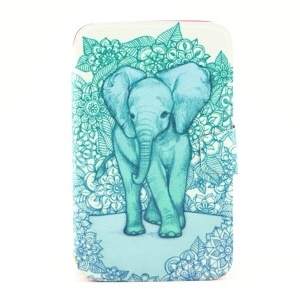 For Samsung Galaxy Tab 3 8.0 T315 Smart PU Leather Rotating Stand Cover - Elephant Art Print