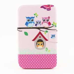 For Samsung Galaxy Tab 3 8.0 T311 Rotating Stand Smart Leather Flip Case - The Owl Family