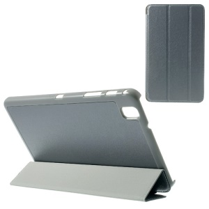 Grey Tri-fold Silk Texture Leather Folio Case for Samsung Galaxy Tab Pro 8.4 T320 T321 T325