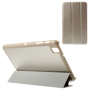 Champagne Gold for Samsung Galaxy Tab Pro 8.4 T320 T321 T325 Tri-fold Stand Silk Texture Leather Shell