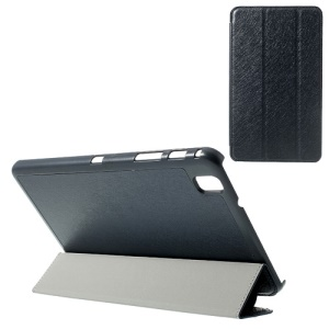 Dark Blue Tri-fold Silk Texture Leather Flip Case for Samsung Galaxy Tab Pro 8.4 T320 T321 T325