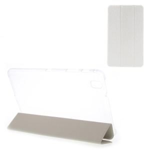 Toothpick Texture Tri-fold Leather Case Stand for Samsung Galaxy Tab Pro 8.4 T320 T321 T325 - White