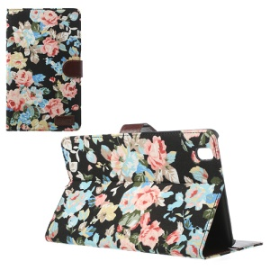 Flowers Cloth Leather Stand Case for Samsung Galaxy Tab Pro 8.4 T320 T321 T325 - Black