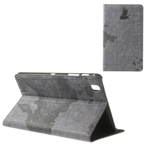 Grey World Map Pattern Protective Leather Case Stand for Samsung Galaxy Tab Pro 8.4 T320 T321 T325