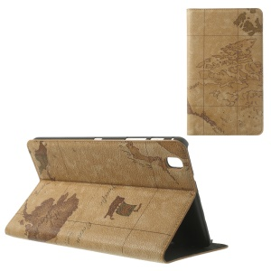 Brown World Map Pattern Leather Flip Cover w/ Stand for Samsung Galaxy Tab Pro 8.4 T320 T321