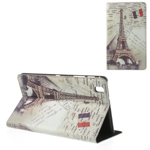 For Samsung Galaxy Tab Pro 8.4 T320 T321 T325 Eiffel Tower Vintage Design Leather Skin Cover w/ Stand