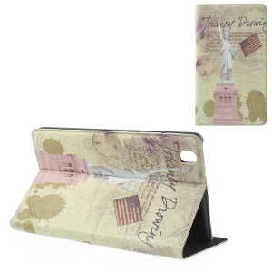 USA the Statue of Liberty Retro Cross Grain Leather Case w/ Stand for Samsung Galaxy Tab Pro 8.4 T320 T321 T325