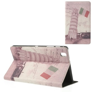 Italian the Leaning Tower of Pisa Vintage Leather Flip Case Stand for Samsung Galaxy Tab Pro 8.4 T320 T321 T325