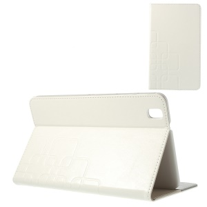 Grid Design Crazy Horse Leather Stand Case for Samsung Galaxy Tab Pro 8.4 T320 T321 T325 - White