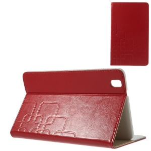 Grid Design Crazy Horse Card Slots Leather Shell for Samsung Galaxy Tab Pro 8.4 T320 T321 T325 - Red