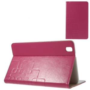 Grid Design Crazy Horse Stand Leather Case for Samsung Galaxy Tab Pro 8.4 T320 T321 T325 - Rose