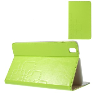 Grid Design Crazy Horse Leather Cover for Samsung Galaxy Tab Pro 8.4 T320 T321 T325 - Yellowgreen