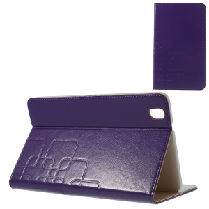 Crazy Horse Grid Design Leather Skin Case for Samsung Galaxy Tab Pro 8.4 T320 T321 T325 - Purple