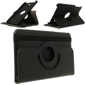 Rotary Twill Cloth Coated Leather Case for Samsung Galaxy Tab 4 8.0 T330 T331 T335 w/ Card Slots - Black