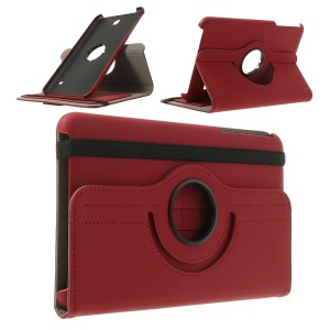 Rotary Twill Cloth Coated for Samsung Galaxy Tab 4 8.0 Leather Case w/ Card Slots and Stand - Red