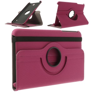 Swivel Twill Cloth Coated Leather Case for Samsung Galaxy Tab 4 8.0 w/ Card Slots and Stand - Rose