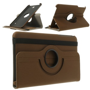 Swivel Twill Cloth Coated Wallet Leather Cover for Samsung Galaxy Tab 4 8.0 T330 T331 T335 - Brown