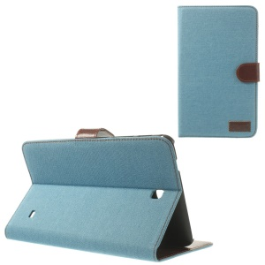Jeans Cloth Leather Card Holder Case w/ Stand for Samsung Galaxy Tab 4 8.0 T330 T331 T335 - Baby Blue