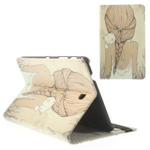 Sexy Girl Holding Cat for Samsung Galaxy Tab 4 8.0 T330 T335 Leather Stand Case