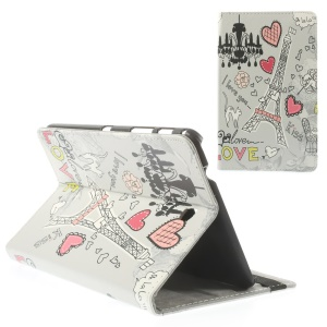 Love Heart & Eiffel Tower for Samsung Galaxy Tab 4 8.0 T330 T335 Leather Stand Case