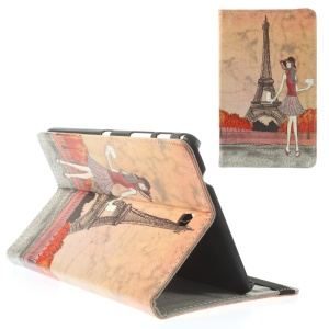 Eiffel Tower & Girl Illustration for Samsung Galaxy Tab 4 8.0 T330 T331 Leather Stand Shell Case