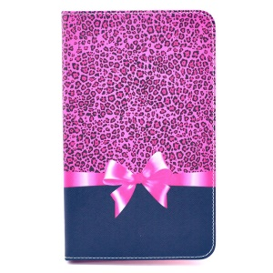 Fashion Leopard & Bowknot Leather Smart Case w/ Stand for Samsung Galaxy Tab 4 8.0 T330 T331 T335