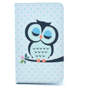 Sleeping Owl on the Branch Leather Smart Cover w/ Stand for Samsung Galaxy Tab 4 8.0 T330 T331 T335