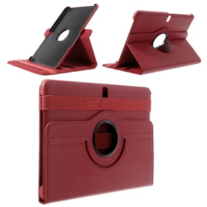 Red for Samsung Galaxy Tab Pro 10.1 T520 T525 Litchi Leather Shell w/ 360 Rotary Stand