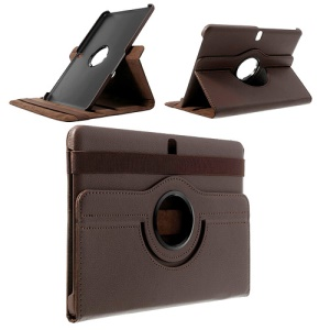 Brown 360 Rotary Stand Litchi Leather Cover for Samsung Galaxy Tab Pro 10.1 T520 T525