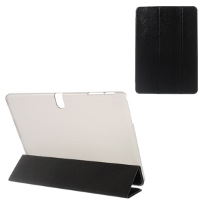 Tree Bark Grain Tri-fold Leather + Plastic Case for Samsung Galaxy Tab Pro 10.1 T520 T525 - Black